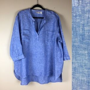 Chico's 100% linen long sleeve blouse size XXL